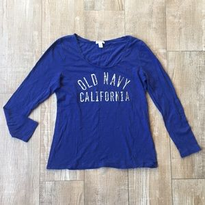 Old Navy California Basic Blue Cotton Long Sleeve
